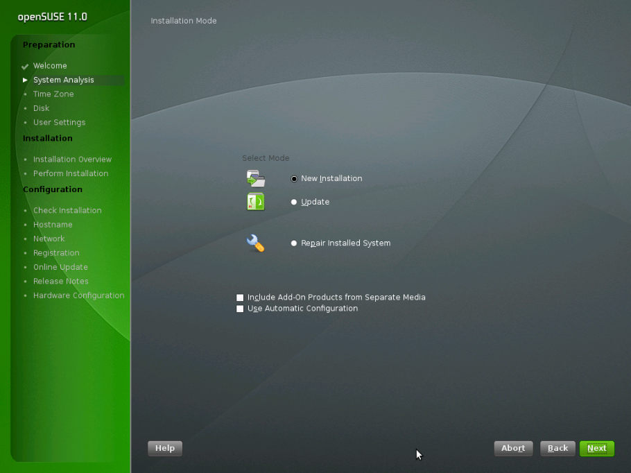 Инсталятор openSUSE 11.0